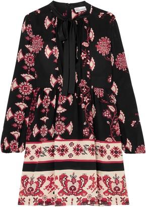 RED Valentino Pussy-bow Floral-print Silk Mini Dress