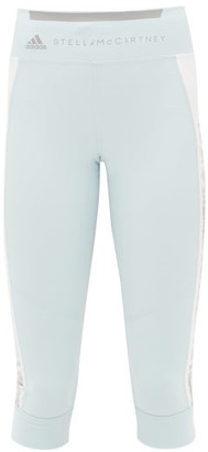 adidas by Stella McCartney High-rise Side-stripe Cropped Leggings - Womens - Blue