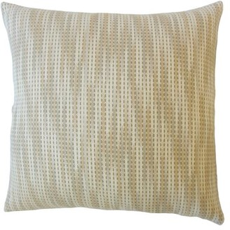 "Bungalow Rose Gardena Striped Down Filled 100% Cotton Throw Pillow Color: Beige, Size: 18"" x 18"""