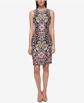 GUESS Printed Shadow-Stripe Sheath Dress