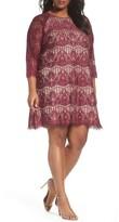 Adrianna Papell Plus Size Women's Scalloped Lace Trapeze Dress