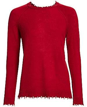 Minnie Rose Women's Distressed Cashmere Knit Sweater