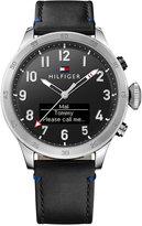 Tommy Hilfiger Men's Analog-Digital Black Leather Strap Smart Watch 46mm 1791299