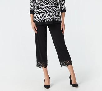 Susan Graver Regular Liquid Knit Pull-On Crop Pant w/Lace Hem
