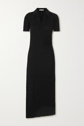 Helmut Lang Ribbed Cotton Midi Dress - Black