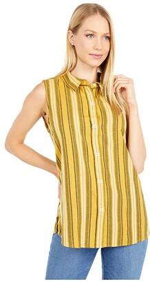 Dylan by True Grit Baja Stripe Button Back Tank Top (Mellow Yellow) Women's Clothing