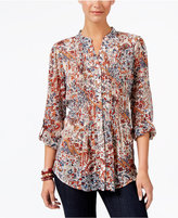 Style&Co. Style & Co Printed Back-Tie Shirt, Only at Macy's