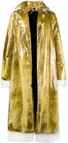 Calvin Klein faux fur coat with detachable transparent overlay