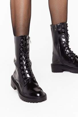 Nasty Gal Womens Tied and Tested Faux Leather Lace-Up Boots - black - 3