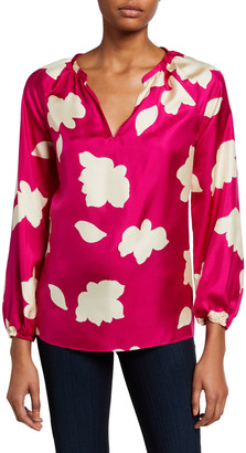 Theory Petal Open V-Neck Gathered Long-Sleeve Silk Blouse