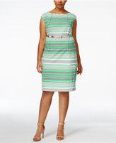 Calvin Klein Plus Size Striped Belted Sheath Dress