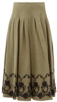Brock Collection Floral-embroidered Tweed Midi Skirt - Womens - Khaki