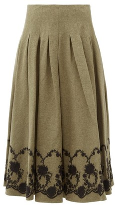 Brock Collection Floral-embroidered Tweed Midi Skirt - Khaki