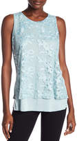 Cable & Gauge Embroidered Mesh Overlay Tank Top
