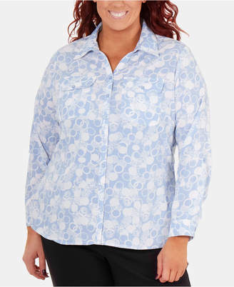 NY Collection Plus Size Printed Button-Front Shirt