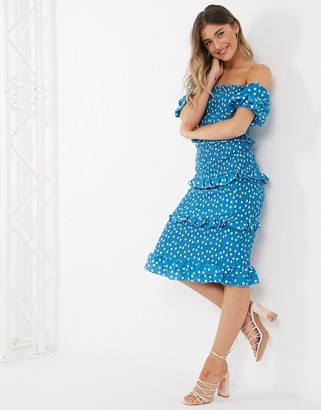 Outrageous Fortune off shoulder frilly shirred pencil dress in blue polka print