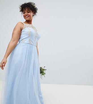 Bardot Chi Chi London Plus Neck Sleeveless Maxi Dress with Premium Lace and Tulle Skirt-Blue