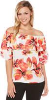 Rafaella Short Sleeve Scoop Neck Knit Floral Blouse