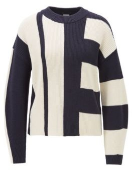 HUGO BOSS Relaxed-fit sweater in colour-block cotton with silk