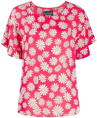 Boutique Moschino Floral Short-Sleeve Blouse