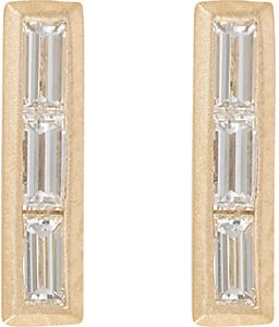 Monique Péan Women's Baguette Diamond & Gold Bar Studs