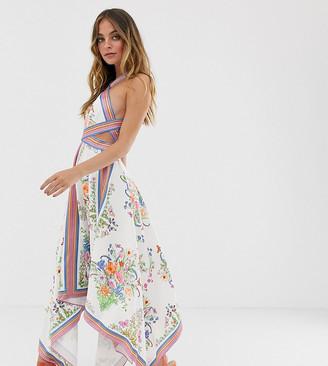 Asos Edition EDITION Petite scarf print halter midi dress with cutout sides