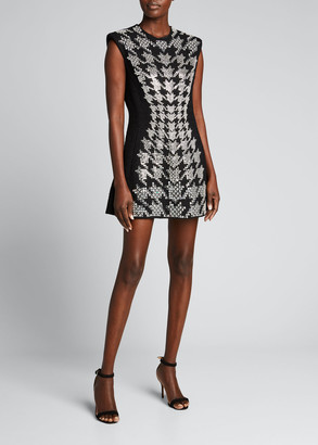 David Koma Embroidered Houndstooth Mini Dress