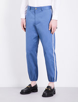 Gucci Striped-sides slim-fit cotton trousers