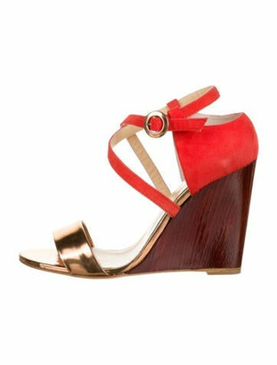 Eugenia Kim Bruna Suede Wedges Orange