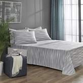 Brielle Stripe Flannel Twin/Twin XL Sheet Set in Grey/White