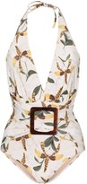 Adriana Degreas Leopard Orchid printed swimsuit