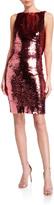 Sequin Cowl-Back Sleeveless Cocktail Dress