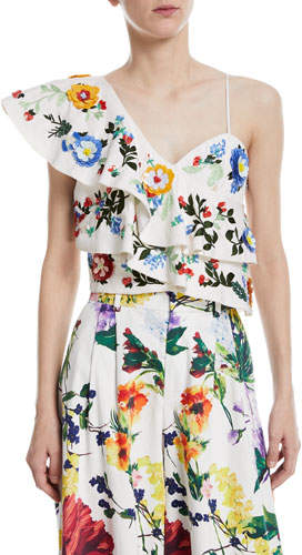 Alice + Olivia Saba Embellished One-Shoulder Ruffle Top