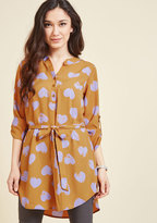 ModCloth Day for Night Tunic in Goldenrod Hearts in 1X