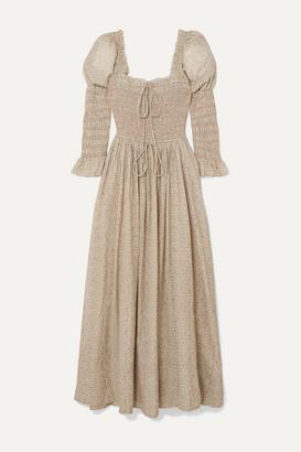 DÔEN Bijou Smocked Floral-print Cotton-blend Dress - Beige