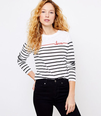 LOFT Petite Love Stripe Long Sleeve Tee