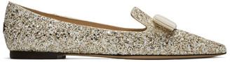 Jimmy Choo Gold and White Coarse Glitter Gala Flats