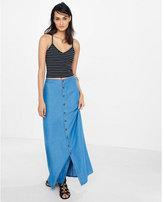 Express high rise button front a-line maxi skirt