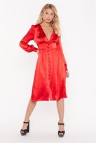 Nasty Gal Womens Just A Touch Of Your Love Satin Midi Dress - Red - 6, Red