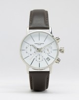 Simon Carter Chronograph Leather Watch With White Dial In Brown