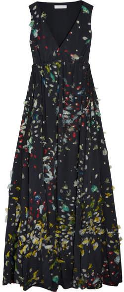 Chloé Fil Coupé Silk Maxi Dress - Navy