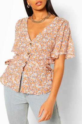 boohoo Woven floral button through blouse