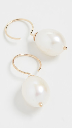 Ariel Gordon 14k Pearl Swing Hoop Earrings