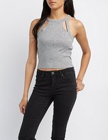 Charlotte Russe Ribbed Bib Neck Cut-Out Crop Top