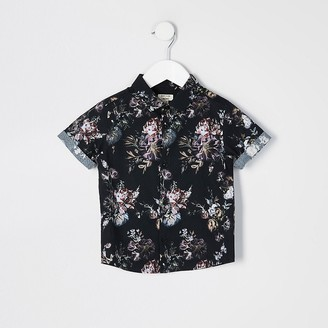 River Island Mini boys black floral short sleeve shirt