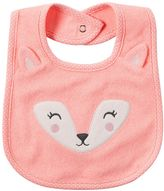 Carter's Baby Girl Embroidered Friendly Animal Face Bib
