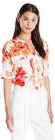 Calvin Klein Women's Print Roll Sleeve Blouse