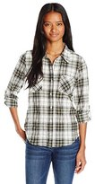 My Michelle Women's 3/4 Sleeve Plaid Button up Collared Shirt with Lace Detail