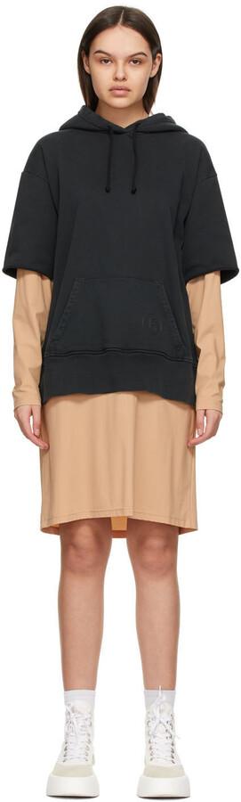 MM6 MAISON MARGIELA Black & Beige Hoodie Dress