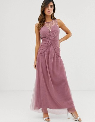 Little Mistress embellished neckline knot waist maxi dress